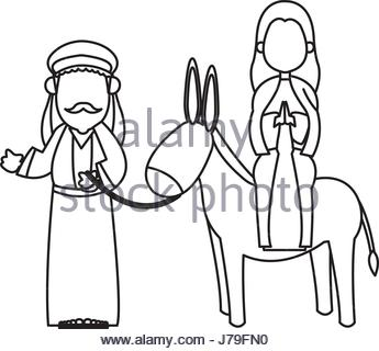 345x320 Illustration Of Mary And Joseph Travelling To Bethlehem Stock