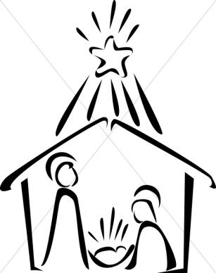 307x388 Nativity In Black And White With Bright Star Christmas