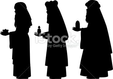380x267 Three Wise Men Vector Silhouettes. They Are Carrying Gifts Of Gold