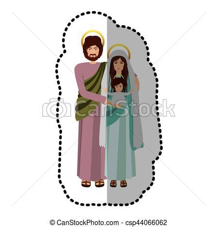 450x470 Virgin Mary And Joseph Icon Vector Illustration Graphic Clip