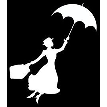 350x350 Mary Poppins Flying With Umbrella Decal Sticker