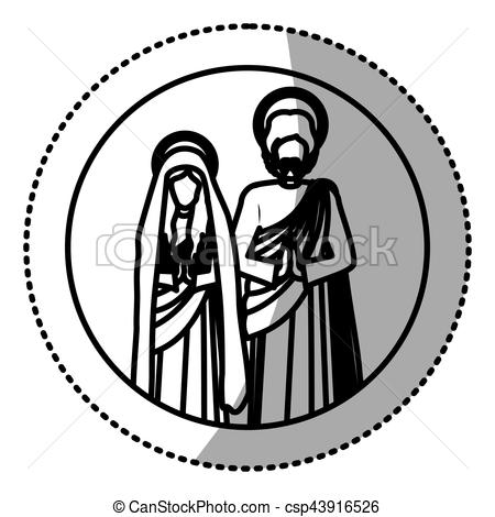 450x470 Circular Sticker With Silhouette Virgin Mary And Saint Vector