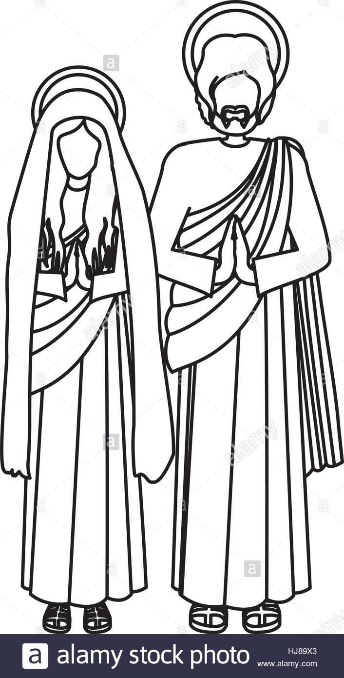 706x1390 Silhouette Virgin Mary And Saint Joseph Praying Vector