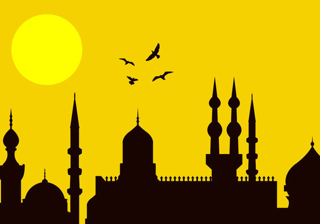 632x443 Eid Al Fitr City Silhouette Free Vector Download 297791 Cannypic