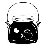160x160 Silhouette Mason Jar Kiss Kawaii With Wire Handle Stock Image