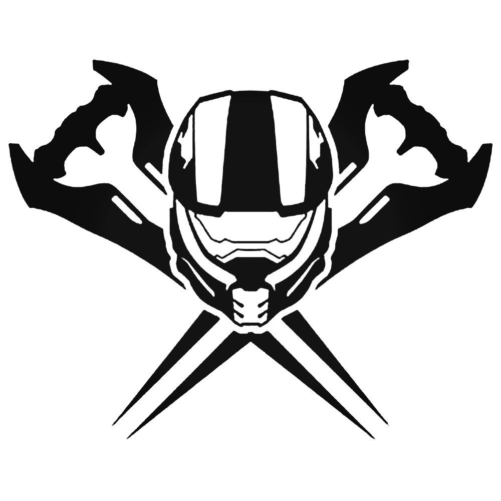 1000x1000 Halo Master Chief Helmet Swords Decal Sticker