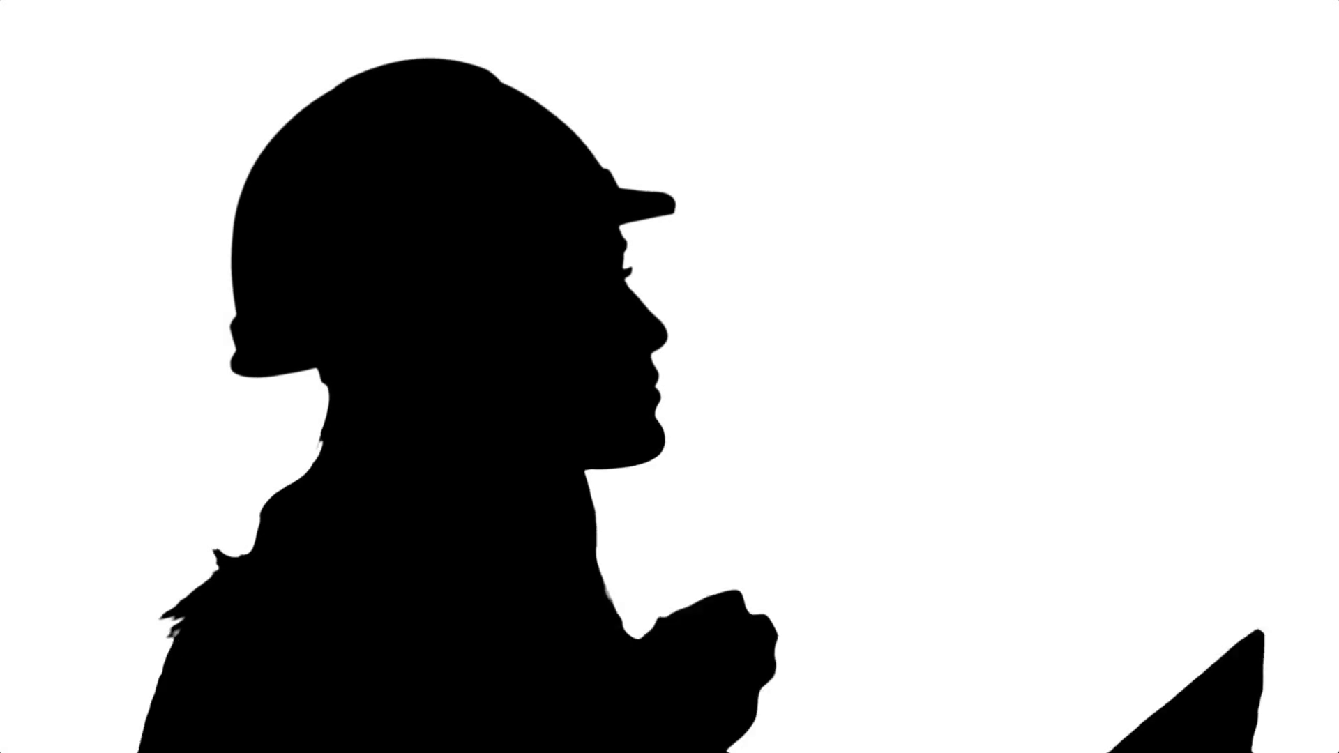 1920x1080 Silhouette Pretty Young Engineer Woman Examining Draft Plans