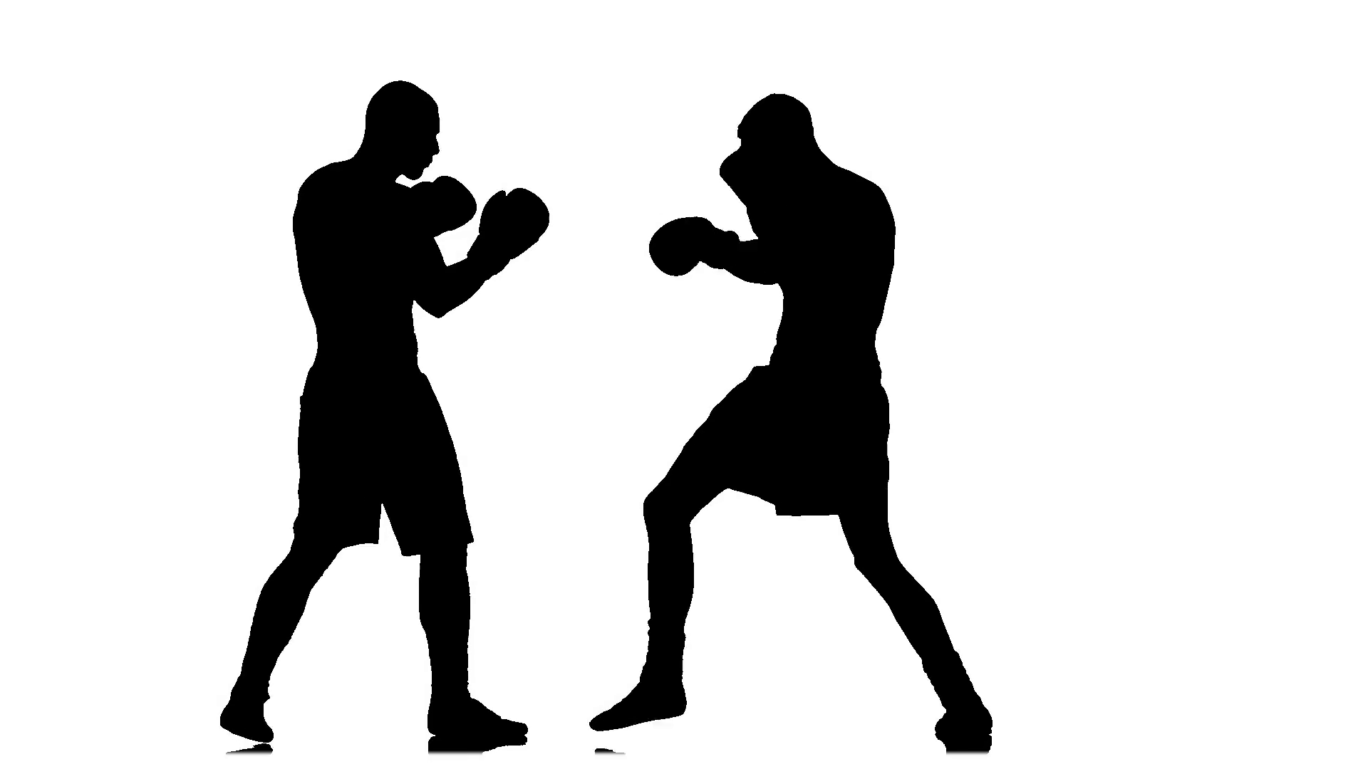 1920x1080 Low Blow In A Boxing Match Between Two Sportsmen. Silhouette Stock
