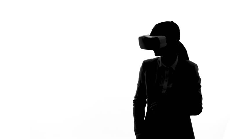 852x480 A Woman Using A Virtual Reality Headset. Silhouette Shot. Matrix
