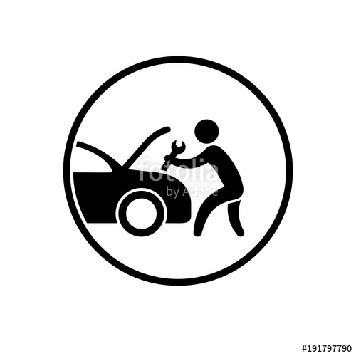 500x500 Mechanic Man With A Wrench Vector Logo. Transportation Service