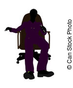 150x180 African American Mechanic Sitting On An Office Chair Clip Art