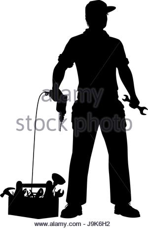 300x462 Vector Illustration Of Service Mechanic Man With Hammer In Blue