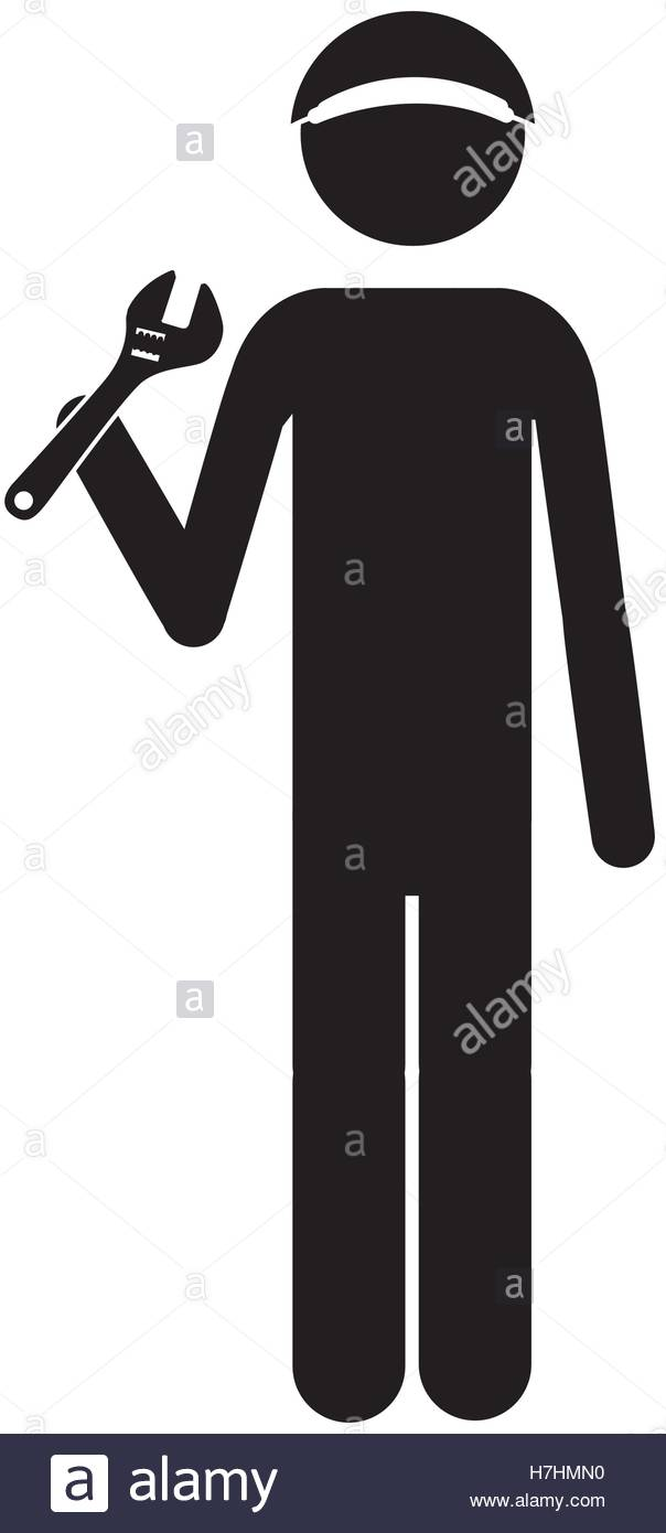 604x1390 Silhouette Of Mechanic Man With Repair Tools Icon Over White Stock