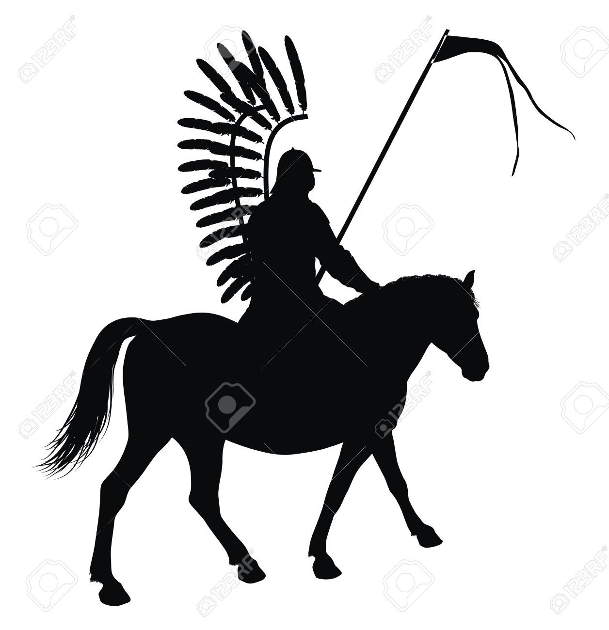 1256x1300 Medieval Warrior With Flag On Horseback Detailed Vector Silhouette