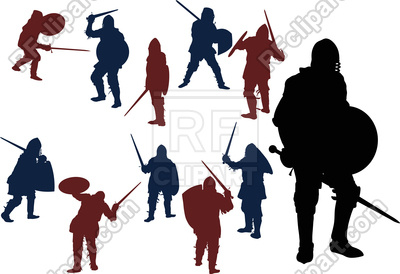 400x274 Medieval Knight Tournament Among Swordsmans Royalty Free Vector