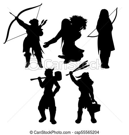 450x470 Medieval Womans Black Silhouettes. Strong Medieval Girls Vector