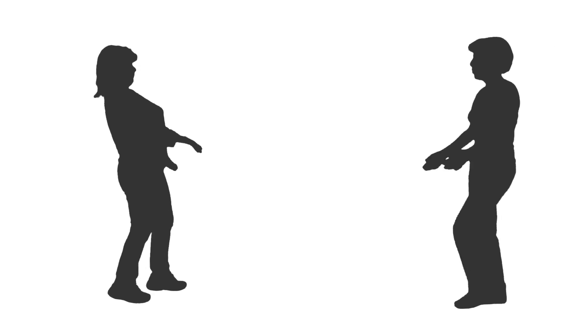 1920x1080 Silhouette Of Two Women Meeting And Talking, Full Hd Footage