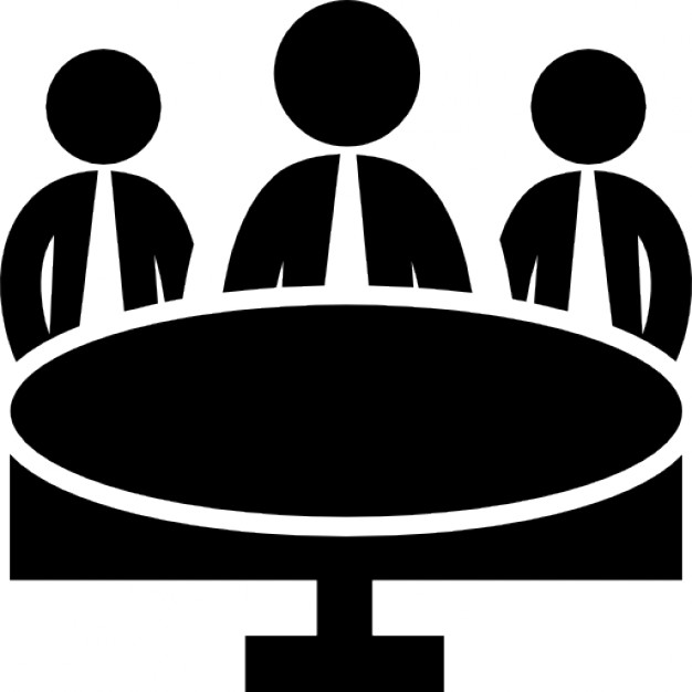 626x626 Business Meeting Group On Circular Table Icons Free Download