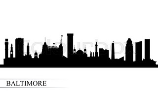 320x191 Baltimore Maryland City Skyline Silhouette. Vector Illustration