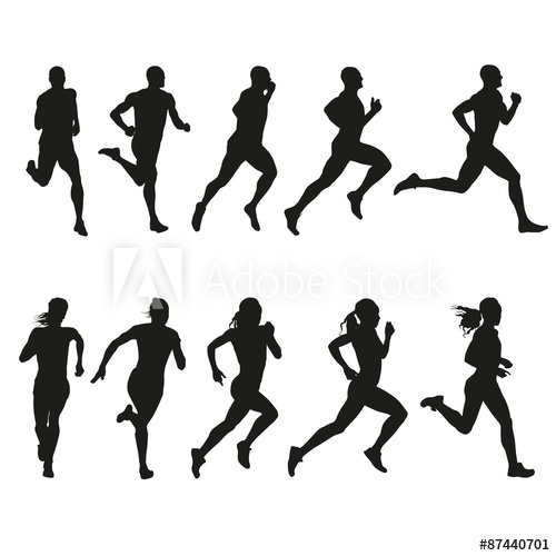 500x500 Set Of Silhouettes Of Running Men And Women