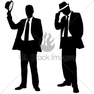 325x325 Men In Suits Silhouettes Gl Stock Images