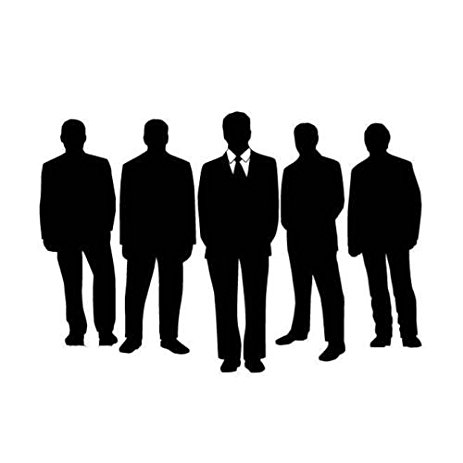 463x463 Men Standing In Group Silhouette Car Decal Sticker, Dk