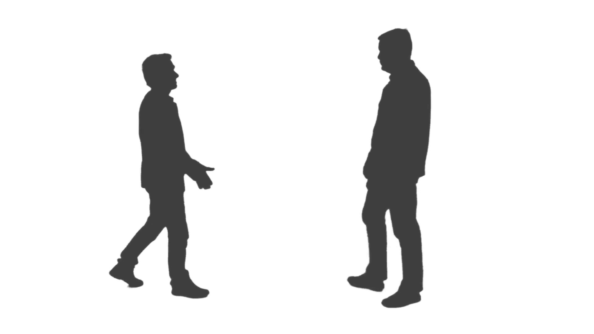 1920x1080 Silhouette Of Two Men Meeting And Handshake. Full Hd Footage