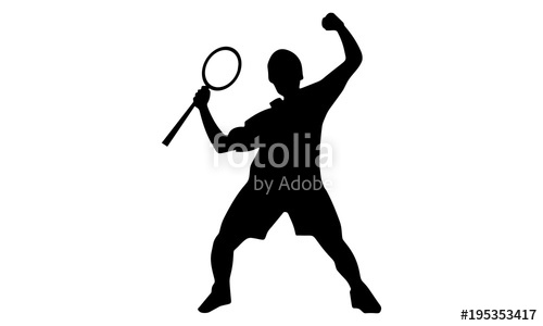 500x300 Silhouette Of The Men's Badminton Male Victory Expression Stock