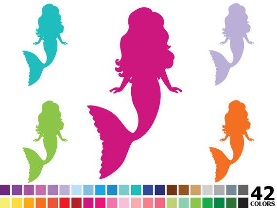 570x428 Rainbow Silhouette Mermaid Clipart Digital Vector Colorful