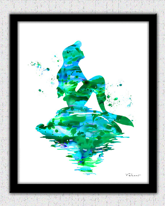 570x713 Mermaid Print Mermaid Watercolor Ariel Disney Ariel