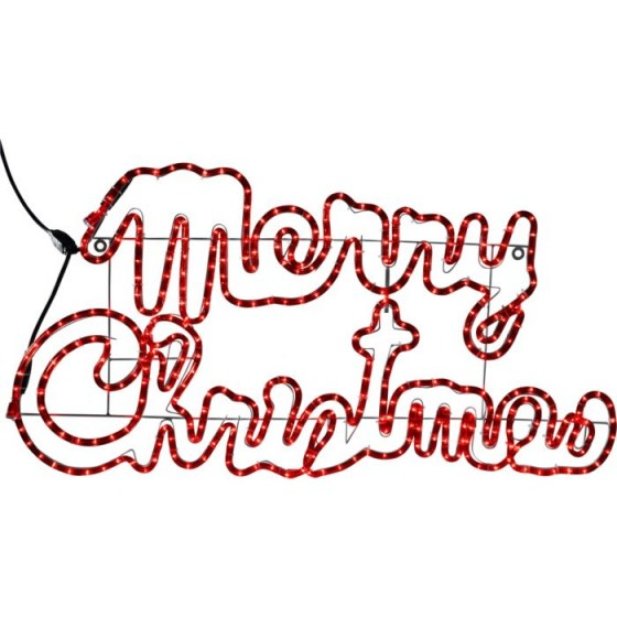 560x560 Merry Christmas Silhouette Red Flashing Sign