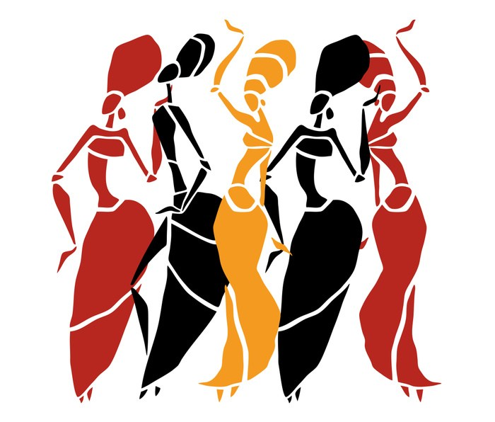 700x596 Abstract African Dancers Silhouette. Figures Of African Women
