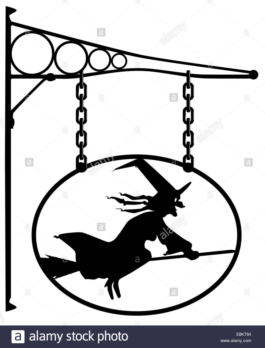 1060x1390 Oval Metal Sign With A Silhouette Of A Witch Stock Photo 74194796