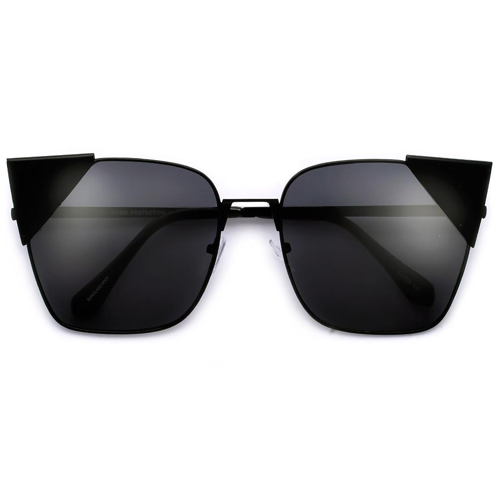 1000x1000 Oversize 63mm Metal Pointy Tip Angular Cat Eye Silhouette Sunnies