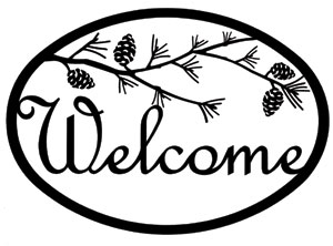 300x222 Wrought Iron Pine Branch Silhouette Medium Metal Welcome Sign