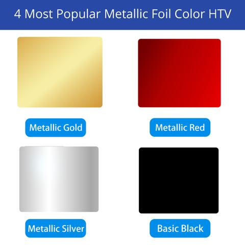 480x480 Metallic Foil Heat Transfer Vinyl 12 Sheets Bundle 4 Popular Color