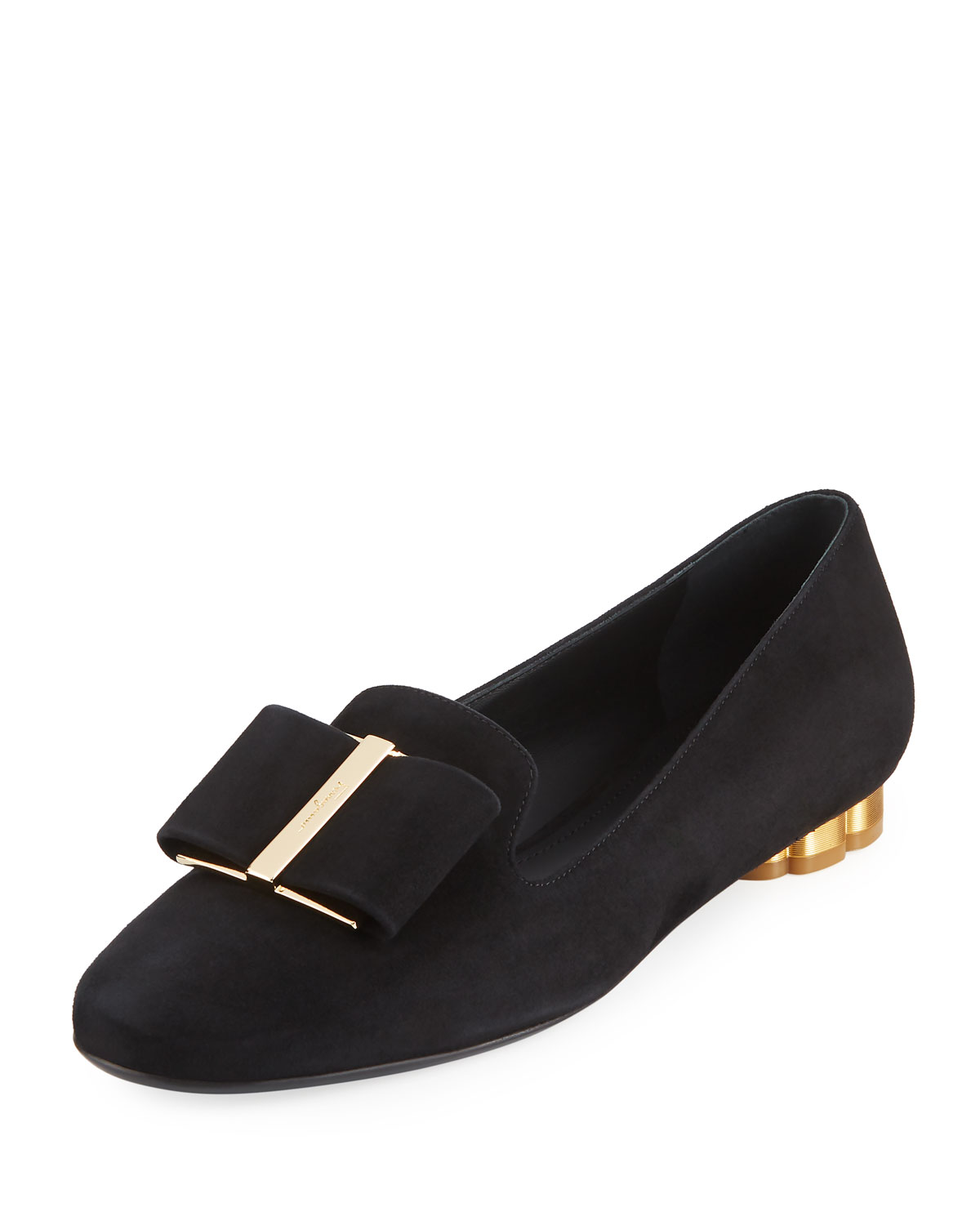 1200x1500 Salvatore Ferragamo Women's Bow Detail Leather Loafers, Black