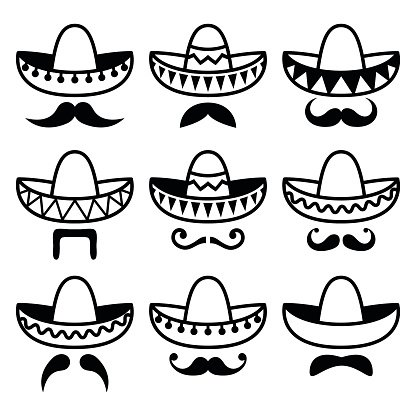 416x416 Mexican Sombrero Hat With Moustache Or Mustache Icons Premium