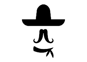 300x214 7 Inches Black Silhouette Of Sombrero Hat Long