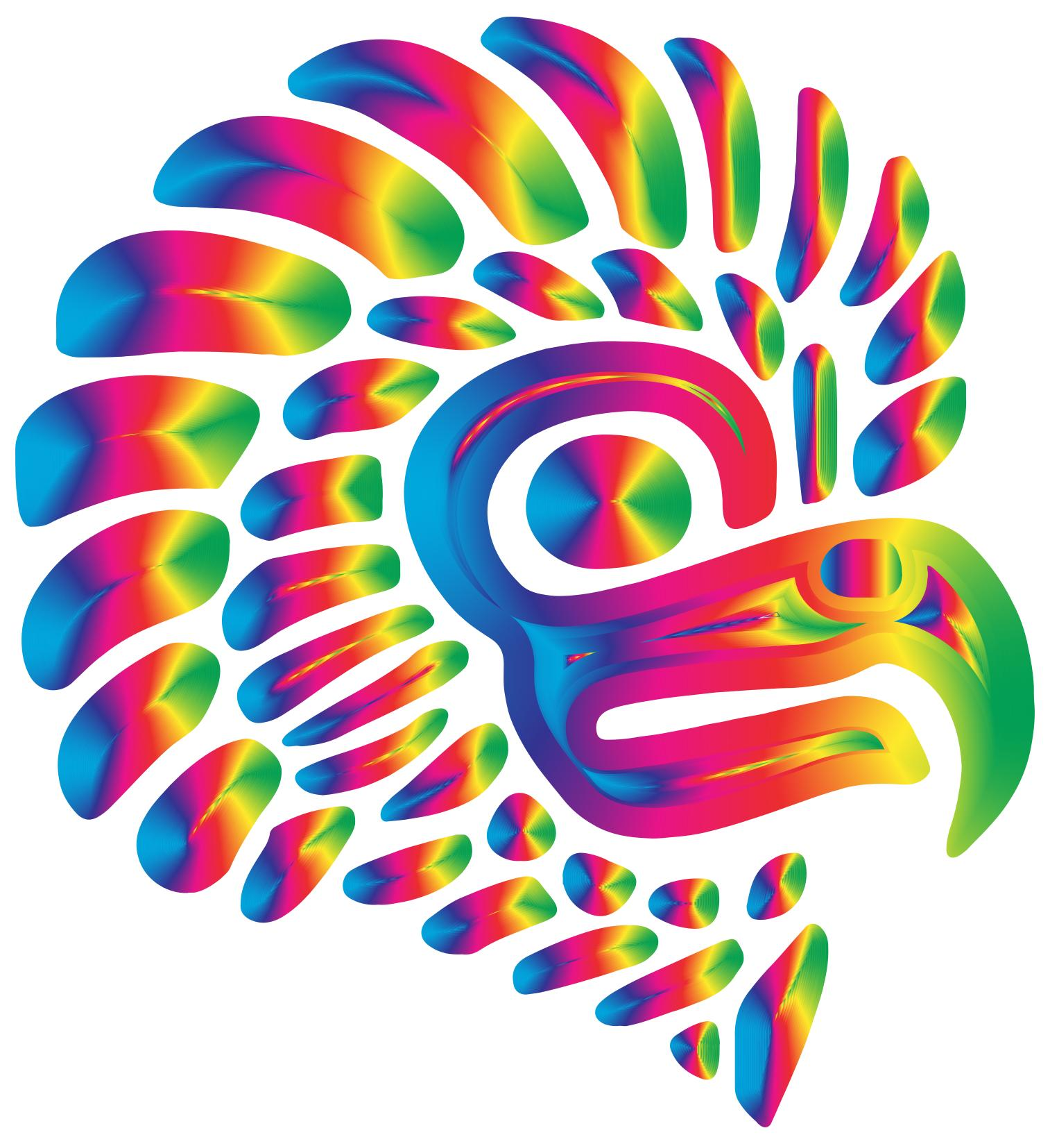 1514x1648 Prismatic Stylized Mexican Eagle Silhouette 8 Clipart