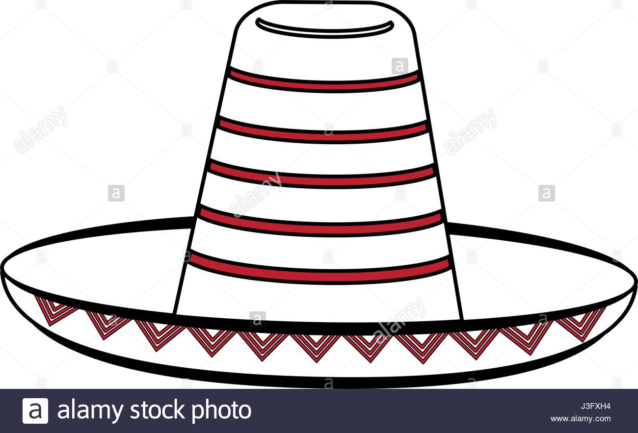 1300x883 Sketch Color Silhouette Mexican Hat Accesory Costume Stock Vector