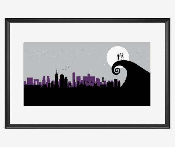 570x480 Mexico City Skyline Art Print Nightmare Before Christmas