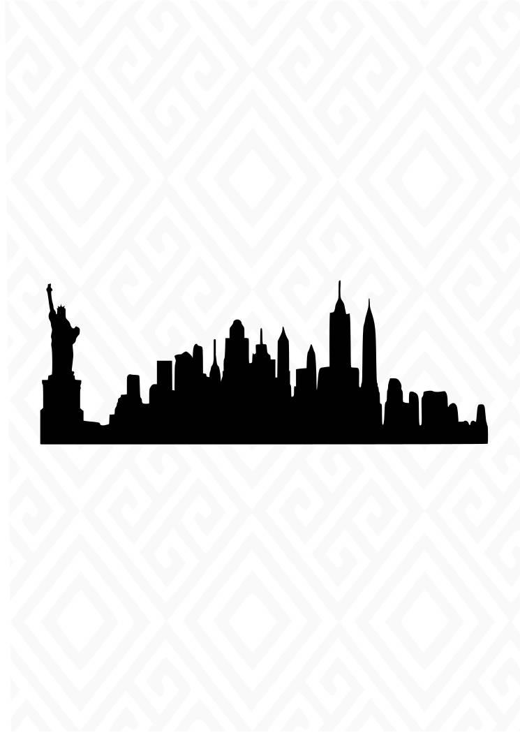 745x1053 New York City Skyline Silhouette Svg Studio 3 Dxf Ai. Ps