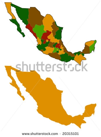 346x470 Mexico Map States Mexico Map Silhouette All States Stock Vector