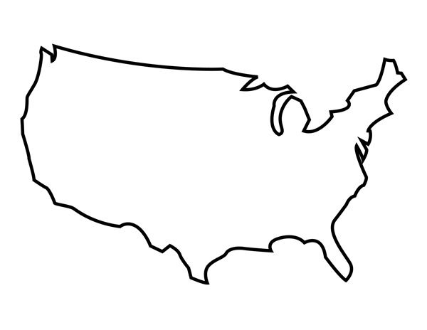 600x464 Printable United States Outline Artcraft Stenciled