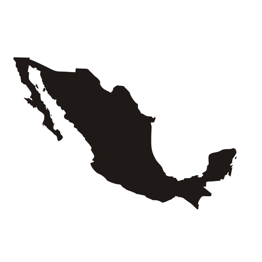 900x900 Pure Color Mural Mexico Map Silhouette Wall Sticker Adhesive