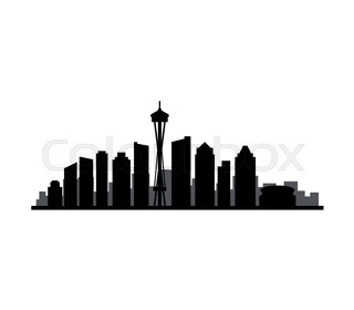 320x280 Miami City Skyline Silhouette Background, Vector Illustration