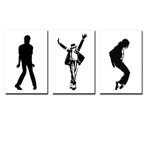 570x570 Canvas Prints Michael Jackson Dance Move Silhouette In Black