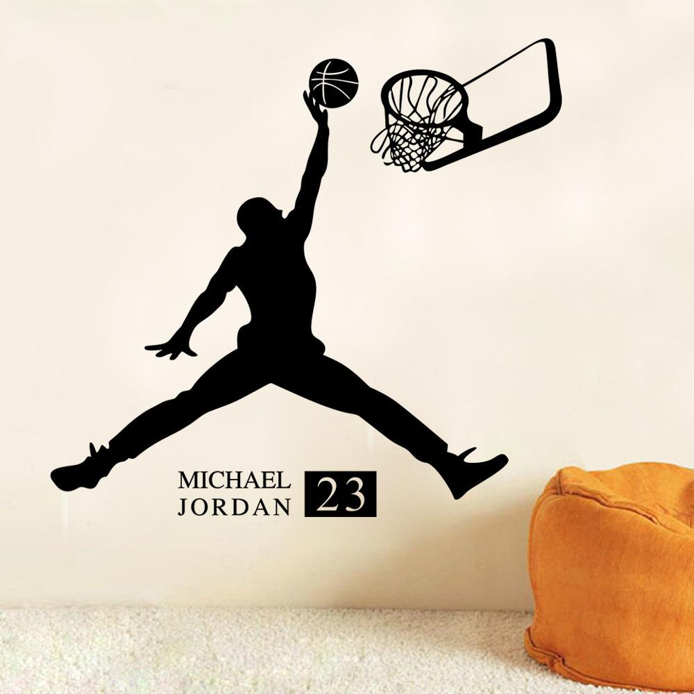 1000x1000 Sports Poster Basketball Wall Stickers No.23 Michael Jordan Slam