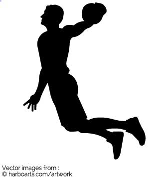 335x355 Basketball Player Slam Dunk Silhouette Vector Graphic. Michael